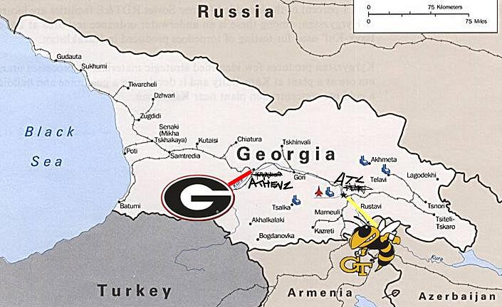 Georgia Bulldogs and Georgia Tech Yellow Jackets Locations in Georgia