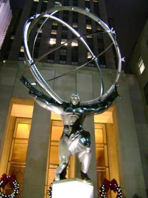 <em>Almost immediately after I took this picture, Atlas shrugged and dropped the globe onto a woman reading </em>The Fountainhead<em>, killing her instantly.</em>